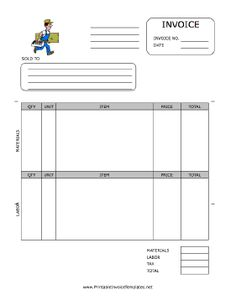 Contractor Receipt Template Free , Contractor Invoice Template for Effective Invoicing Procedures , It is always crucial for the contractor companies to have the effective invoicing procedures. The invoice should include all the important details cor. Printable Invoice, Invoice Template Word, Receipt Template, Bill Template, Printable Tags, Invoice Example, Invoice Format, Google Docs, Be Design