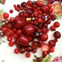 Vintage red bead mix glass stone acrylic crystals by pinksupply, $4.55