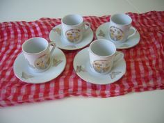 Vintage, Demitasse, Espresso, Set of Four (4) Cups and Saucers, Made in Japan