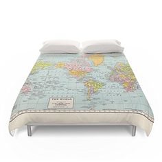 "Society6 World Map Duvet Covers Queen: 88"" x 88"" Society6 http://smile.amazon.com/dp/B01D43864Q/ref=cm_sw_r_pi_dp_cb.exb1XE8XRK"