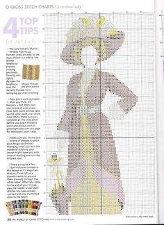 0 point de croix femme edouardienne en rouge et jaune  - cross stitch red and yellow edwardian lady part 2