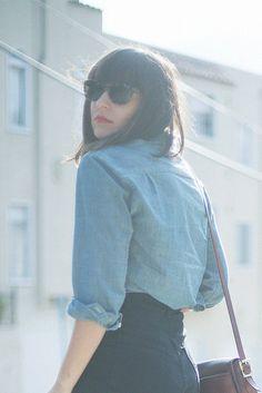 denim shirt + high waisted jeans
