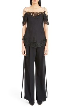GIVENCHY Strappy Floral Lace & Silk Blouse. #givenchy #cloth #