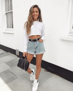 Shop the outfit by clicking the picture 😍Summer basics ✌🏼top is (I wear size 10 for a more oversized fit) Crop Top Outfits, Girly Outfits, Short Outfits, Trendy Outfits, Cute Outfits, Corporate Fashion, Shorts Jeans, Cute Crop Tops, Summer Fashion Outfits
