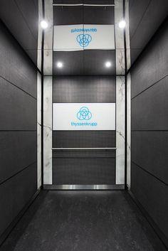 Thyssenkrupp Elevator India Pvt Ltd, Bangalore - Display Centre Elevator Design, Spectrum Glass, Visualization Tools, Lift Design, Led Down Lights, Downlights, Satin Finish, Outdoor Lighting, Charleston