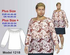 PDF Sewing Pattern Women's Plus size Blouse sizes 18-28, Blouse Plus size