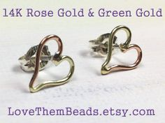 Open Heart 14K Rose Gold & 14K Green Gold Stud Earrings, Sterling Silver Posts and backs, Simple Solid Gold Earrings, Mixed Metal - pinned by pin4etsy.com