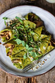 """TRIED - """"Spinach Crepes with Mushrooms, Basil Pesto & Tahini Dressing"""" - healthy and although not much, still very good filling meal. Try Tahini dressing if possible Veggie Recipes, Vegetarian Recipes, Cooking Recipes, Healthy Recipes, Basil Recipes, Chicken Recipes, Tahini Dressing, Tacos Vegan, Healthy Foods To Eat"""