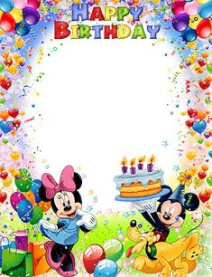 Mickey and Minnie Mouse wish you a Happy Birthday Happy Birthday Mickey Mouse, Happy Birthday Wishes Photos, Birthday Wishes For Kids, Happy Birthday Frame, Happy Birthday Wallpaper, Birthday Frames, Birthday Wishes Cards, Happy Birthday Sister, Happy Birthday Greetings