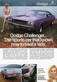 """wishiwasstillthen: """" Dodge Challenger ad - 1970 """""""