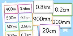 mm cm m km Equivalents Matching Cards - mm, cm, m, km, equivalents, matching, cards, flashcard, card, activity, millimetres, centimetres, metres, kilometres, equal, length