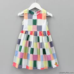 MultiColor Cotton Printed Sleeveles Dress #Dress #Multicolor #Sleeveless #Printed