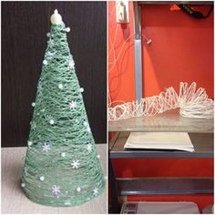 Christmas tree yarn tower trying to be the Leaning Tower of Pisa. #pinterestfail