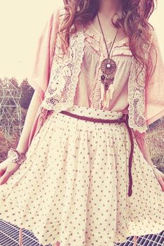 Pretty polka dot skirt and lace cardy. Love it! :)