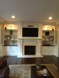 Such a great fireplace and built-in surround....                                                                                                                                                                                 More
