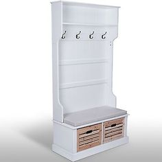 Hall Storage Unit Large Coat Hat Jacket Hanger Tall Stand White Bench Store Cube