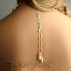 Back Drop Pearl Bridal Necklace - Teardrop Pearl Wedding Jewelry, from T's Studio Jewelry - http://tstudiojewelry.com