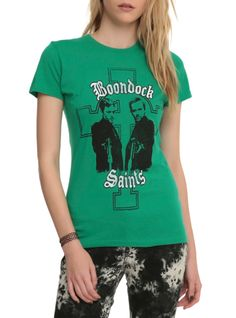Fitted green tee from The Boondock Saints with a MacManus brothers and cross design.