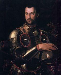 Bronzino- Cosimo I de' Medici in Armour  c. 1550  Oil on wood, 114 x 89 cm  Museo degli Argenti, Florence