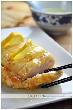 Salseando in the kitchen: Lemon chicken (Chinese cuisine) Hindu Food, Cheap Healthy Dinners, Tapas, Sem Gluten Sem Lactose, Pollo Chicken, Lemon Chicken, Asian Recipes, Healthy Recipes, Good Food