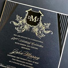 A gorgeous birthday invitation that we designed and printed a few months back. Glossy black and gold foil stamping on matte black 4 ply stock. The gold beveled edges always impress, so pretty! Foil Stamped Wedding Invitations, Birthday Invitations, Invites, You Are Invited, Twenty One, Letterpress, Instagram Posts, Foil Stamping, Prints