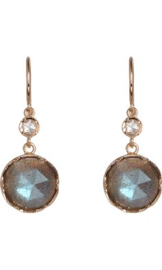 Stunning! Irene Neuwirth Labradorite & Diamond Drop Earrings