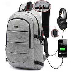 ed5aead87c AMBOR Business waterproof Resistant Polyester Laptop Backpack with USB  Charging Port and Lock  Headphone interface for College Student Work Men    Women