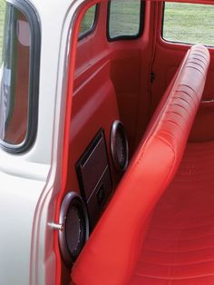 nice and clean finished interior. Chevy 3100, Chevy Pickup Trucks, Classic Chevy Trucks, Chevy Pickups, Custom Car Interior, Truck Interior, Custom Trucks, Custom Cars, Custom Car Audio