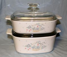 Corning Ware Pyrex COUNTRY CORNFLOWER Casserole Dishes with Lids 1 1/2 and 1 Quart Dishes Set of 2 by ChimoTreasures on Etsy