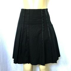 223949d9e1 Ted Baker Skirt Black A Line Flare Button Grosgrain Stripes Lined Cotton  Blend 1 #TedBaker #ALine #Any