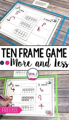 Ten Frame Game – Classroom Freebies Free ten frame game that practices subitizing and figuring out more and less. Ideal for kindergarten classrooms and math [. Classroom Freebies, Kindergarten Classroom, Teaching Math, Teaching Ideas, Kindergarten Centers, Free Kindergarten Math Games, Math 2, Teaching Time, Math Fractions