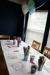 I want to do coloring tablecloths for his birthday, now we just need a theme....