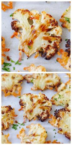Parmesan Roasted Cauliflower This roasted cauliflower recipe makes the best cauliflower ever! It's cauliflower baked in the oven with butter, olive oil and Parmesan cheese. A delicious side dish with Side Dishes For Chicken, Keto Side Dishes, Side Dish Recipes, Vegetable Recipes, Vegetarian Recipes, Cooking Recipes, Healthy Recipes, Vegetable Appetizers, Cauliflower Side Dish