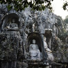 Lingyin Temple, a Buddhist temple of the Chan sect located north-west of Hangzhou, Zhejiang Province, China. The Feilai Feng grottoes in front of the temple.
