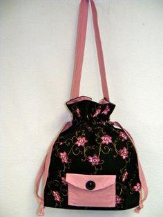 Pink Blossom Drawstring Shoulder Purse ♥ by BusyBeeOriginals on Etsy, $30.00