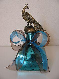 New Gorgeous Teal Mercury Glass Peacock Perfume Bottle w/ Ribbon - Perfect Gift!
