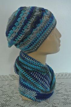 JARNÍ SETÍK modrá čepice dívčí jaro šedá nákrčník Knitted Hats, Crochet Hats, Beanie, Knitting, Fashion, Knitting Hats, Moda, Tricot, Fashion Styles