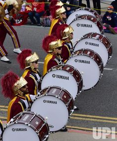 The USC Trojans Marching Band makes its way down Colorado Boulevard in the Rose Parade held in Pasadena, California on January Photo by Christine Chew/UPI Pasadena California, University Of Southern California, University Of Los Angeles, January 2, Usc Trojans, Celebrity Photos, Colorado, Band, Rose