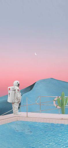 Aesthetic Desktop Wallpaper, Anime Scenery Wallpaper, Wallpaper Backgrounds, Cute Pastel Wallpaper, Kawaii Wallpaper, Astronaut Wallpaper, Space Drawings, Disney Background, Surreal Photos