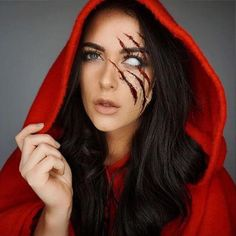 Red riding hood inspired. Create a look inspired from stories and movies. #halloween #makeup #womentriangle