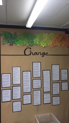 Poetry display Change  KS2 Display Ideas, Poetry, Change, Living Room, Night, Frame, Decor, Picture Frame, Decoration