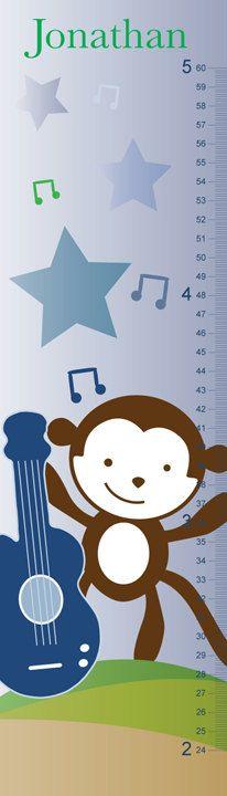 Monkey Rock Star Growth Chart Boy by LilBitDesign on Etsy, $40.00