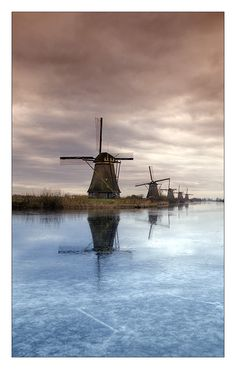 Mills, Kinderdijk, Netherlands. Visit shop.holland.com for towels inspired by these windmills