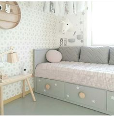 Have a nice evening ✨ Small Guest Rooms, Small Room Bedroom, Dream Bedroom, Girls Bedroom, Bedroom Decor, Baby Boy Rooms, Little Girl Rooms, Baby Zimmer Ikea, Kids Daybed