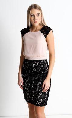 CDC Lace Detail Pencil Dress Blush/black