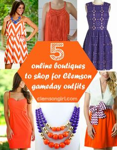 Online Boutiques to Shop for Gameday Looks Clemson Girl - 5 online boutiques to shop for Clemson gameday outfits and accessoriesClemson Girl - 5 online boutiques to shop for Clemson gameday outfits and accessories Clemson Football, Clemson Tigers, Football Season, College Football, Auburn Tigers, Fall Outfits, Cute Outfits, Orange Outfits, Tiger Girl