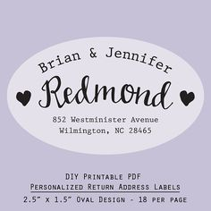 Printable Personalized Address Labels Scallop Design By Rsvplove