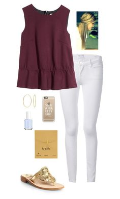 """I love Dogeared!!"" by gabbbsss ❤ liked on Polyvore featuring Frame Denim, H&M, Dogeared, Bling Jewelry, Casetify, Essie and Jack Rogers"