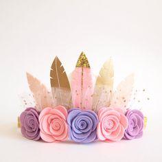 Dreamer Rose Feather Crown christmas crown/ felt by kireihandmade