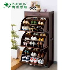 Solid wood rotating shoe rack tipping shoe shoe shoe storage cabinet Hall entrance Cabinet cupboard TV cabinet - iBuyLa_Tmall_Taobao Angent - Online Shopping at iBuyLa.com in Singapore